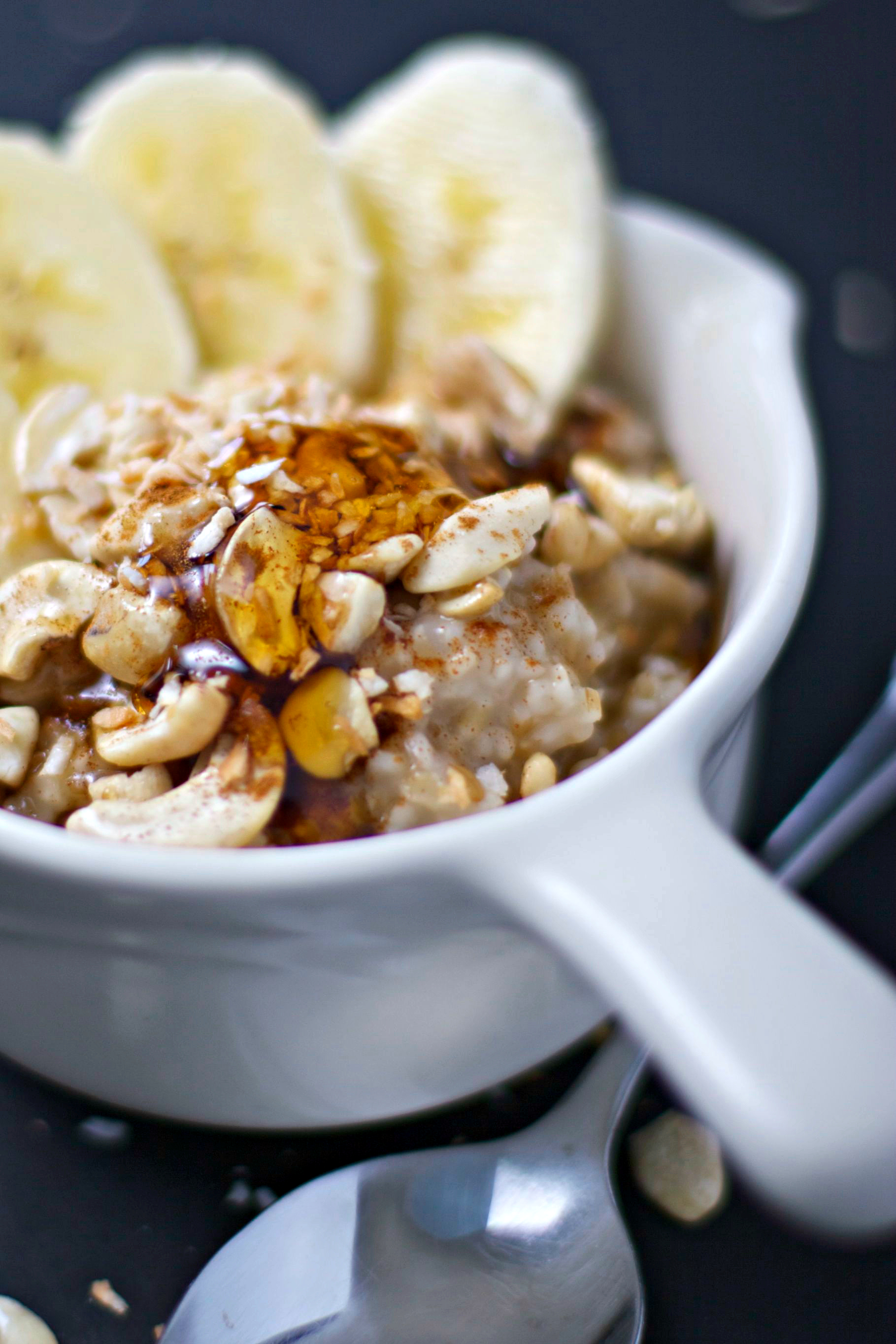 Coco Banana Cashew Steel Cut Oats ~two ways~vegan/gluten free~