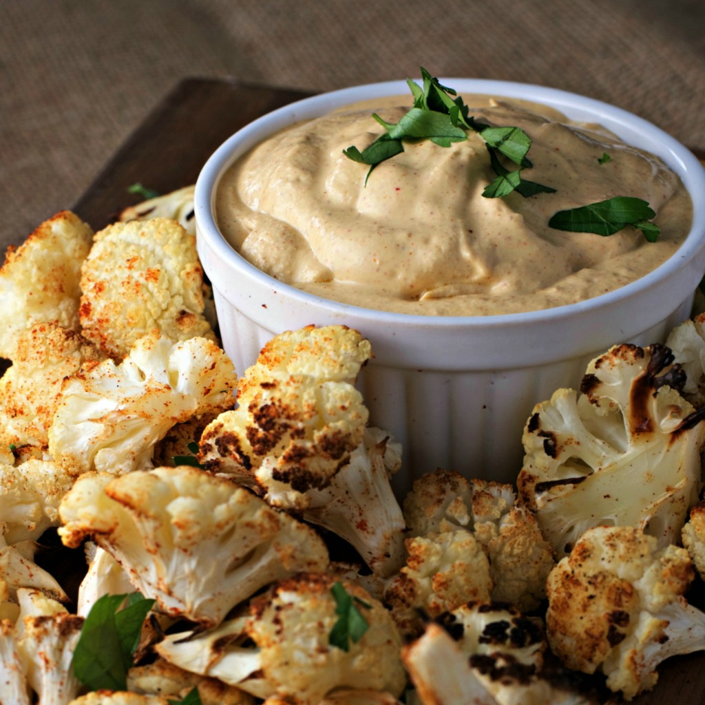 Cauliflower Bites with Spicy Almond Dip ~vegan~
