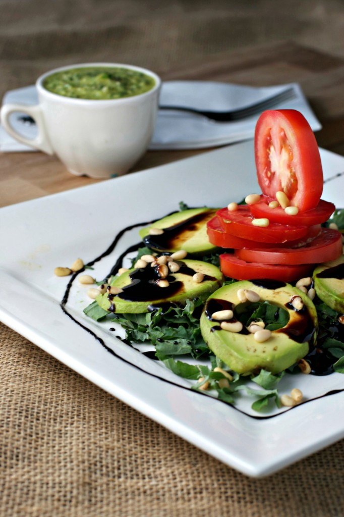 Avocado Caprese Salad with Pesto Vinaigrette and Sweet Balsamic Reduction Sauce ~This salad screams summertime!