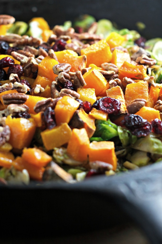 Shredded Brussels Sprouts with Butternut Squash, Pecans and Dried Cranberries ~vegan, gluten free~ The perfect Thanksgiving side dish!