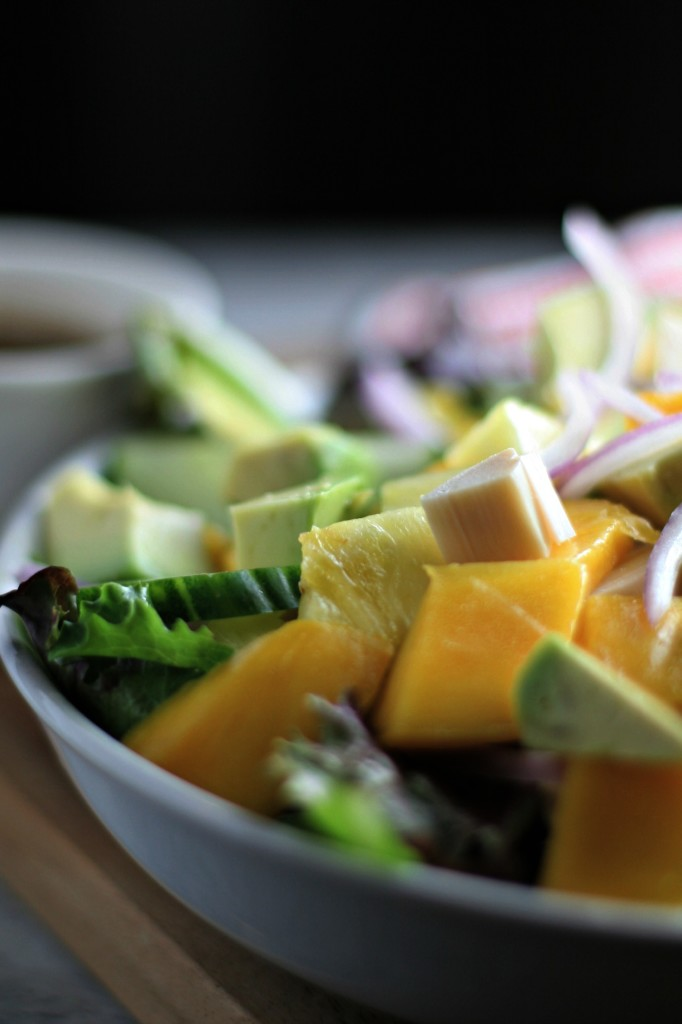 Hearts of Palm and Tropical Fruit Salad with Balsamic Dressing