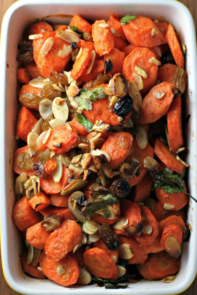 Roasted Spiced Carrots with Golden Raisins and Almonds ~vegan, gluten free~