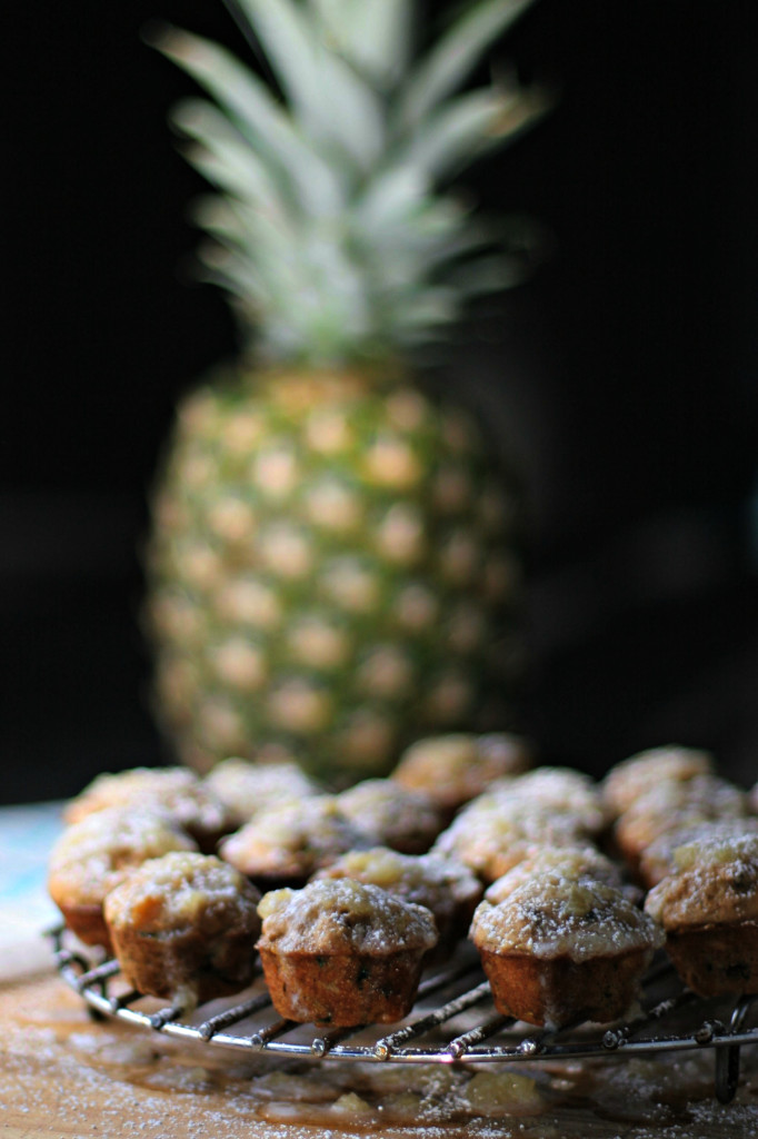 Mini Zucchini Muffins with Pineapple Glaze ~vegan, gluten free~