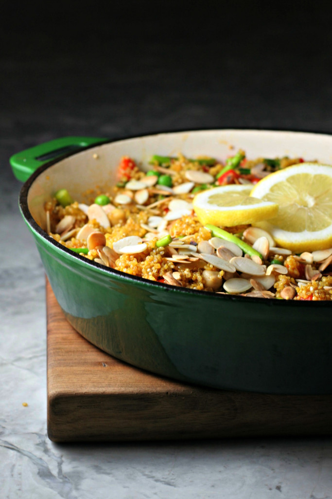 Spring Vegetable Quinoa Paella ~vegan, gluten free~