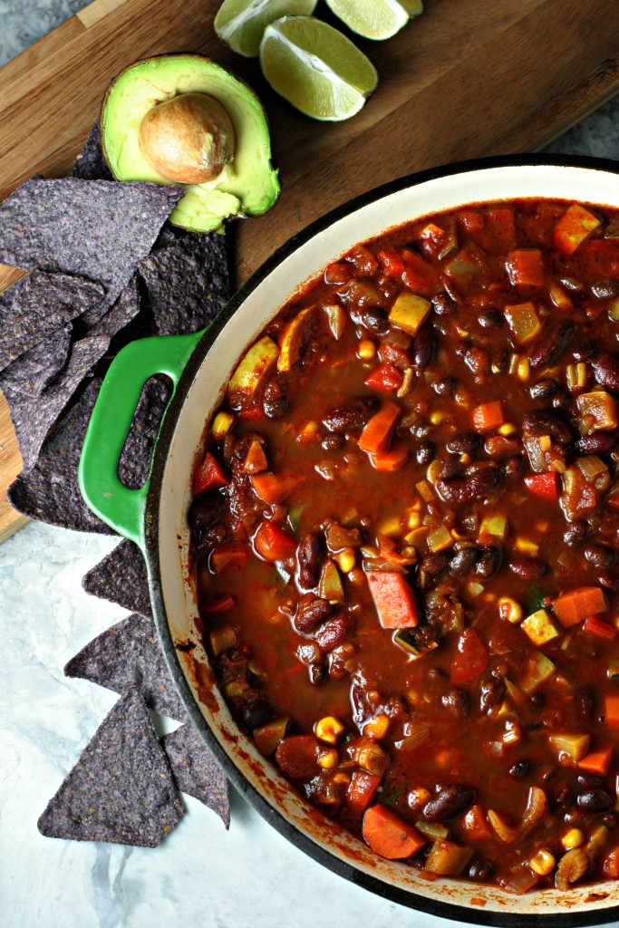 Summertime Chili, made with garden fresh zucchini, summer squash, sweet corn and beans!  A high protein and high fiber vegan meal!
