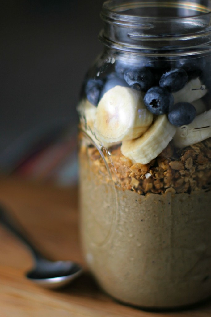 Chocolate Banana Protein Smoothie Jar ~ A superfood, super delicious way to start your day!  ~vegan~