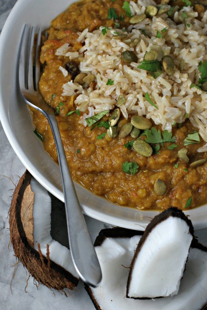 Crockpot Spiced Lentils ~vegan, gluten free~ All I A freezer meal that you can thaw and serve with rice, potatoes or naan bread for a complete meal with plenty of protein!
