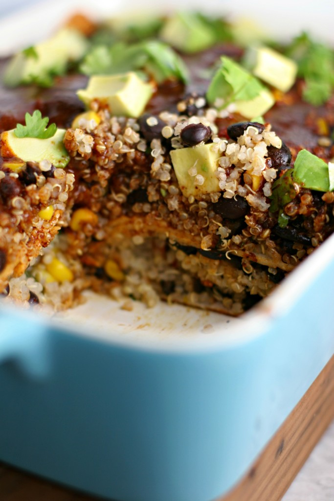 Quinoa Enchilada Bake with homemade enchilada sauce! ~vegan, gluten free~ Plus, breastfeeding nutrition tips!