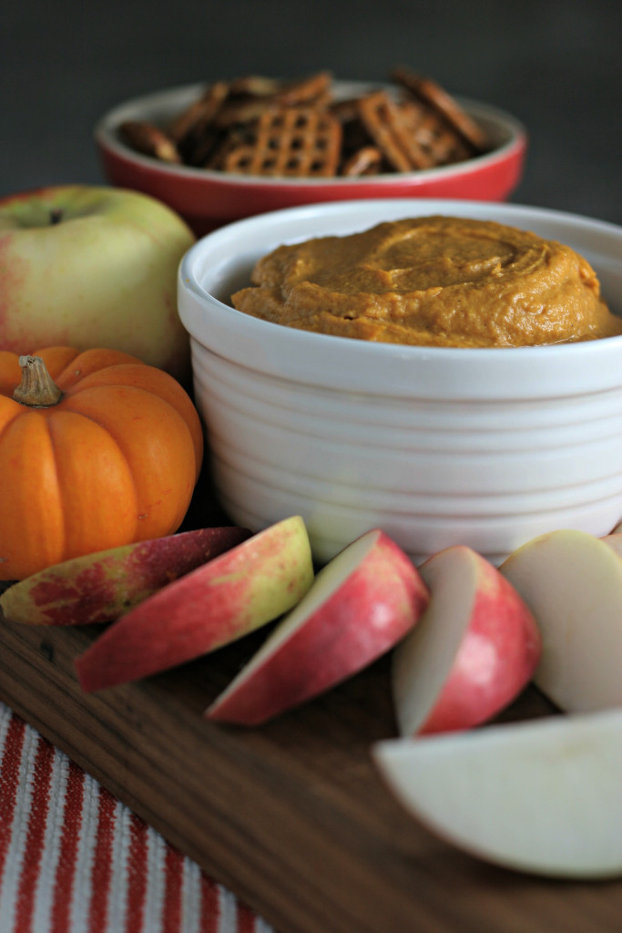 Cashew Pumpkin Dip ~vegan~ It's secretly healthy and tastes just like pumpkin cheesecake! Dip into it with apple slices, pretzels or spread onto graham crackers for a delightful snack...or just eat it by the spoonfuls!