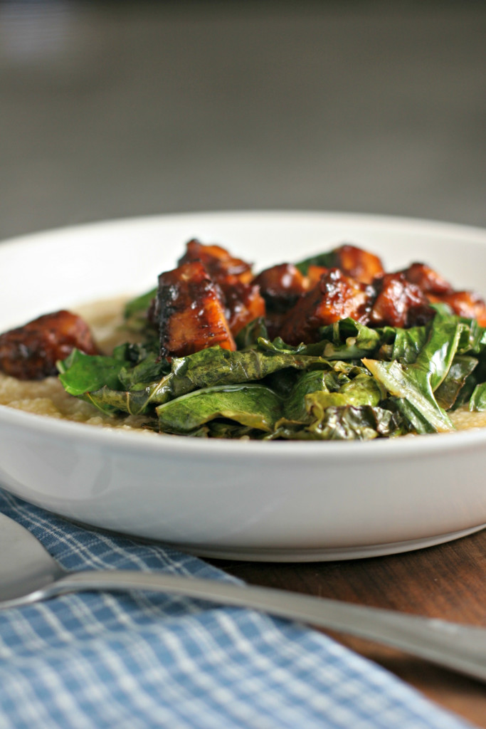 Savory Grits with BBQ Tempeh and Collard Greens ~vegan, gluten free~