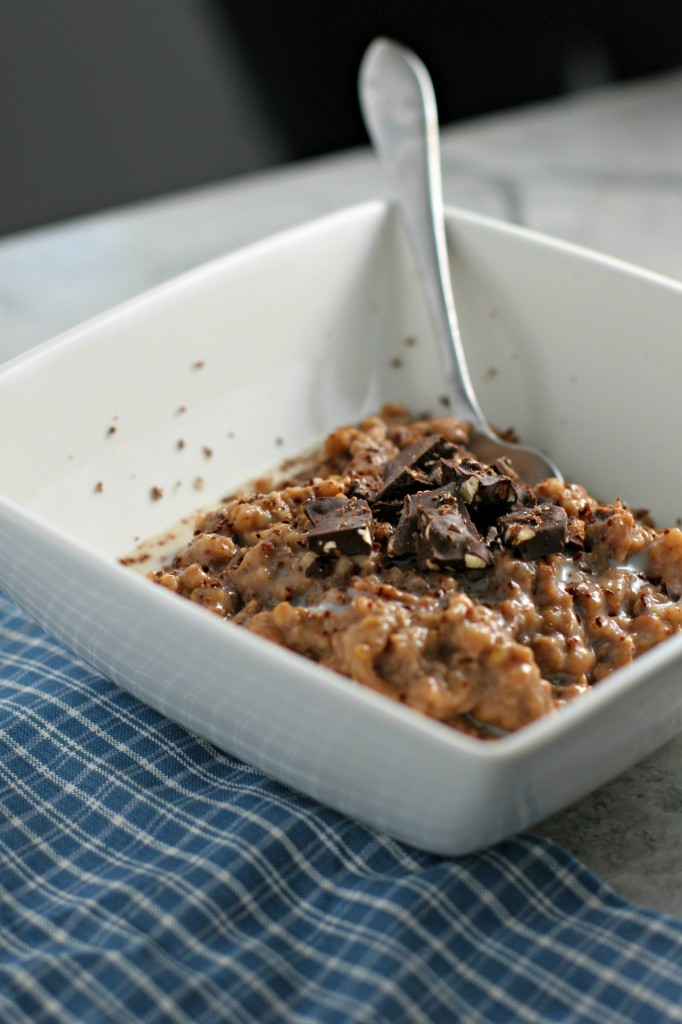 Hot Chocolate Steel Cut Oatmeal ~made in the crockpot while you sleep! Topped with BarkTHINS snacking chocolate!