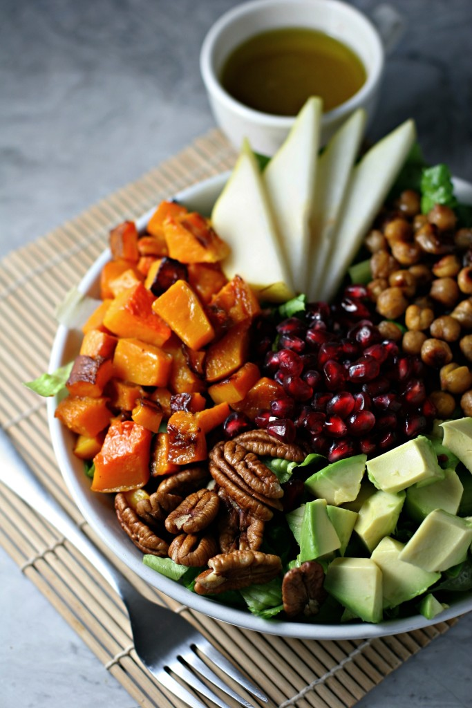 Winter Cobb Salad with cinnamon maple chickpeas, pears, pecans, avocado, pomegranate seeds and roasted butternut squash. ~vegan, gluten free~