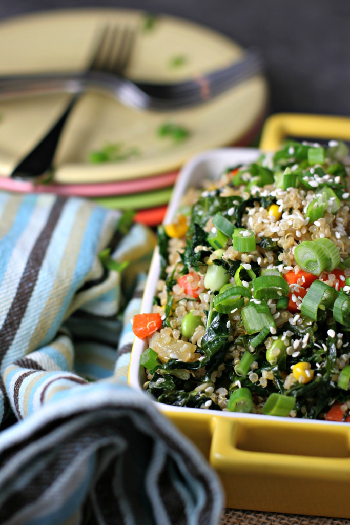 Kale and Quinoa Fried Rice, a healthy and high protein vegan variation of traditional fried rice made in under an hour!