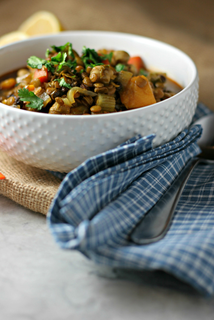 Moroccan Lentil Stew, a budget friendly and healthy family meal made in under an hour! ~vegan, gluten free~