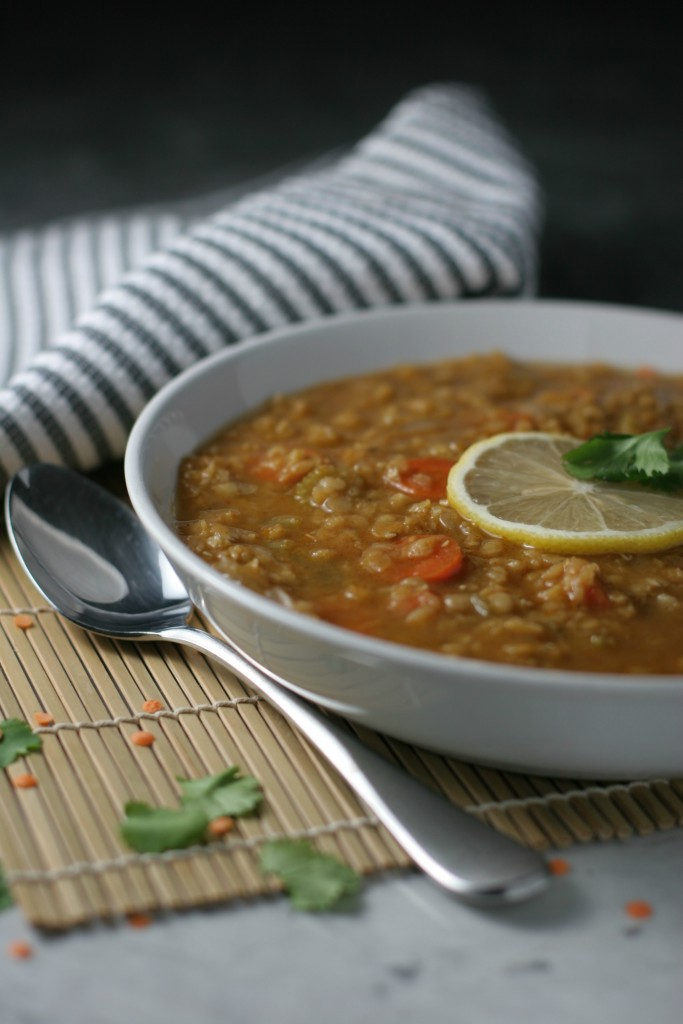 Lemon Coconut Lentil Soup, warm bowl of lentils seasoned with smoked paprika, cumin, coriander, hot pepper flakes and mellowed out with coconut milk for a warm and comforting meal!