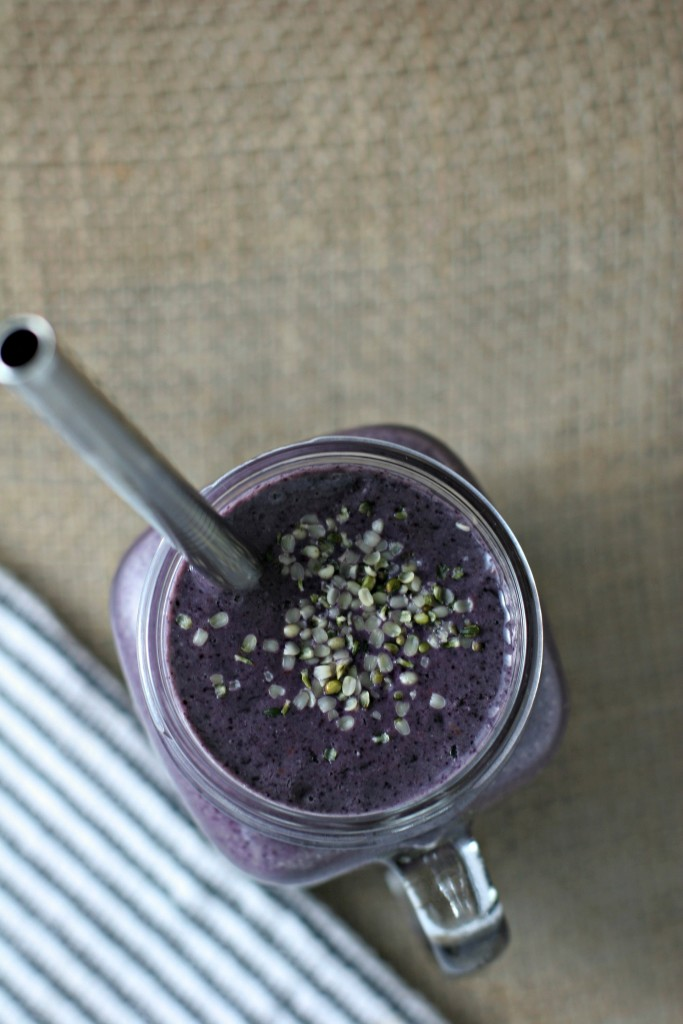 Blueberry Hemp Seed Green Smoothie, an easy way to get kids to drink their greens!