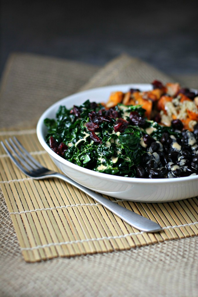 Kale Salad Balance Bowl with black beans, harissa roasted sweet potatoes and sweet tahini dressing for a balanced dinner in a bowl!