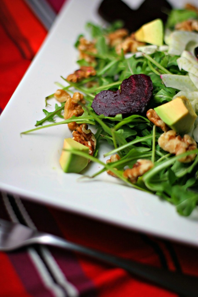 Beet and Arugula Salad with Fennel Share this heart healthy salad with your loved one on Valentine's Day! ~vegan & gluten free~