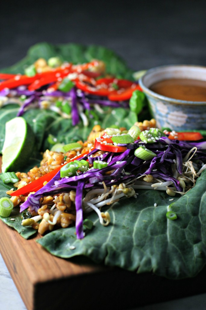 Thai Tempeh Collard Green Wraps, vibrant veggies and toasted tempeh flavored with ginger, garlic and soy, all wrapped up in a luscious leaf! ~vegan, gluten free~
